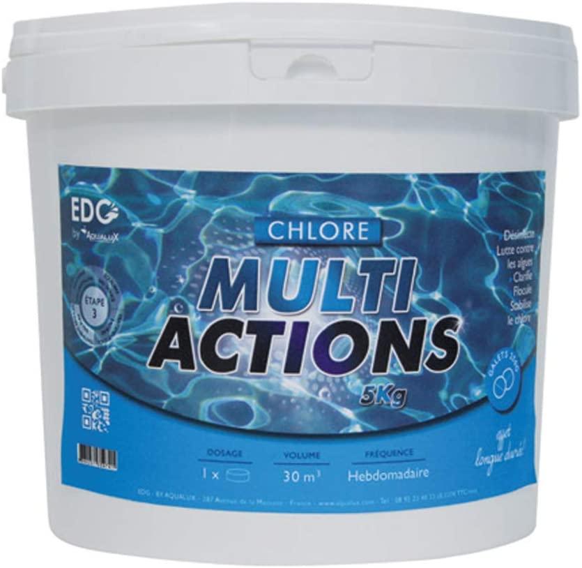 Chlore Multi Actions Piscine - Galets 250g - Seau 5 kg - Fonctions Longue Durée de marque EDG