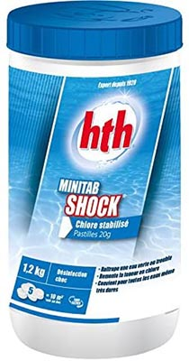 Minitab Shock 00218523 600351 marque HTH chlore piscine 1,2kg comparatif